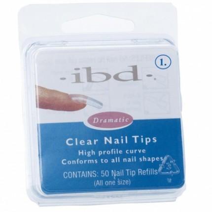Clear tipy 1 - 50ks  - IBD - priehľadný tip na nechty veľkosti 1