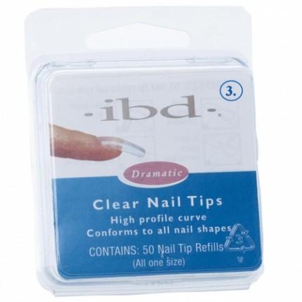 Clear tipy 3 - 50ks - IBD - priehľadný tip na nechty veľkosti 3