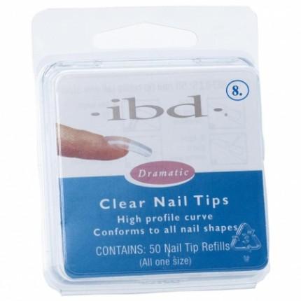 Clear tipy 8 - 50 ks - IBD - priehľadný tip na nechty veľkosti 8