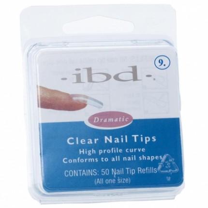 Clear tipy 9 - 50 ks - IBD - priehľadný tip na nechty veľkosti 9